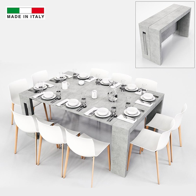 Table console extensible grazia xl 3 allonges gris 10 - Console extensible 10 personnes ...