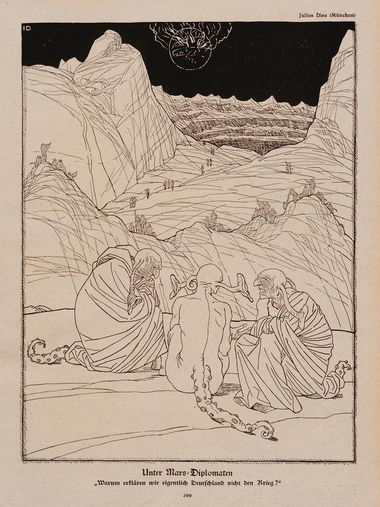 Julius Diez - Under Mars Diplomats, 1917