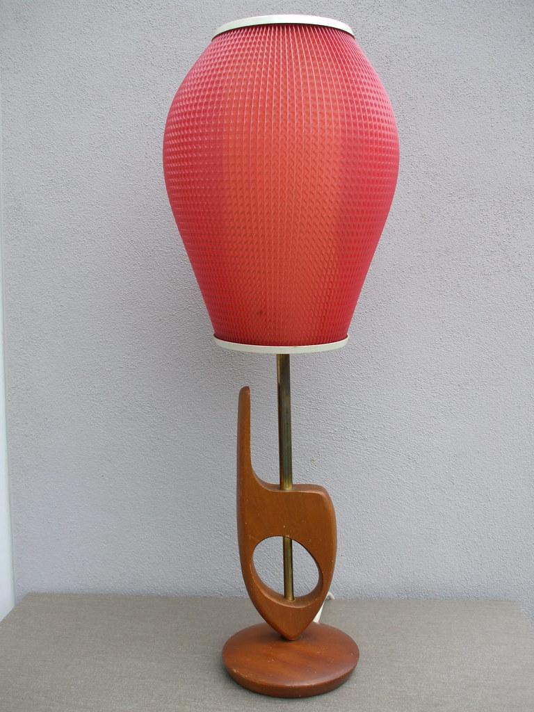 Beetle2001cybergreen Vintage 1950s Teak Table Lamp Mid Century Modern Design