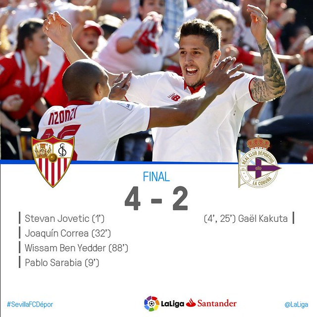 La Liga Santander (Jornada 31): Sevilla FC 4 - RC Deportivo de la Coruña 2