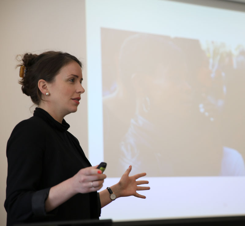 Samantha McCann speaks at a Solutions Journalism Network training event. (Courtesy photo)