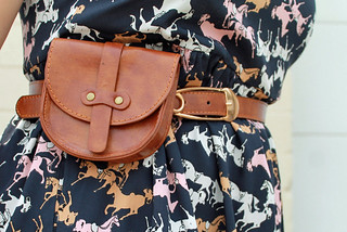 "Save the Date Outfit: Anthropologie horse and polkadot print dress ""Petaluma Peep Hem Dress"", hand-me-sown kicks, Modcloth leather pouch belt, Jewelmint leather cuff with silver horse 