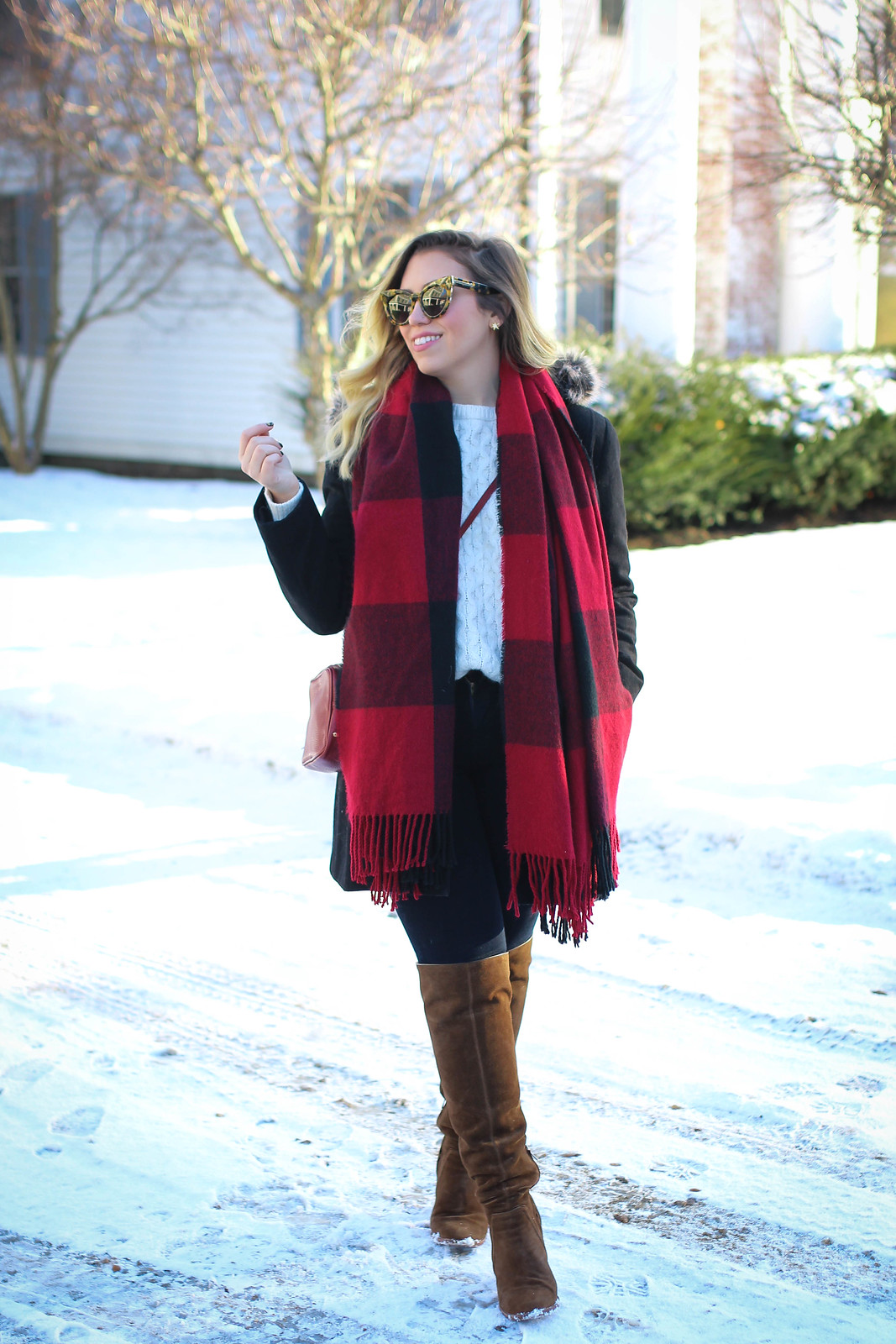 Casual Winter Women's Outfit | Red Plaid Scarf, J Brand Maria High Rise Jeans, Vince Camuto Suede OTK Boots.