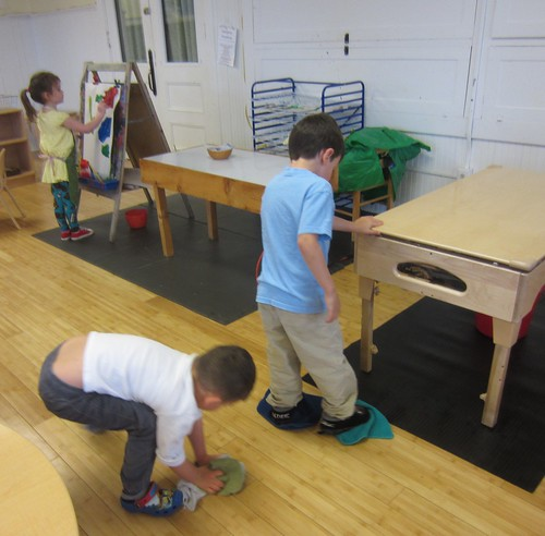 cleaning their spills from the water table