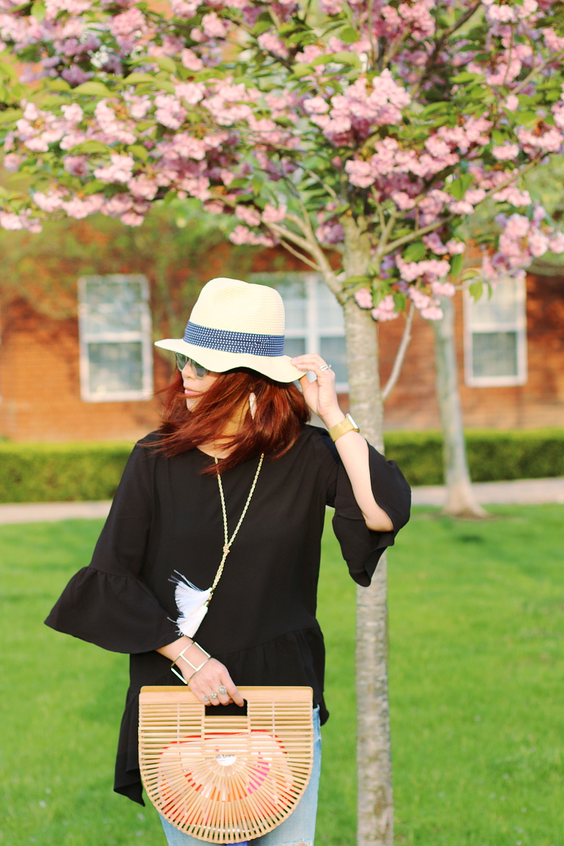 black-ruffle-bell-sleeve-spring-top-ark-bag-8