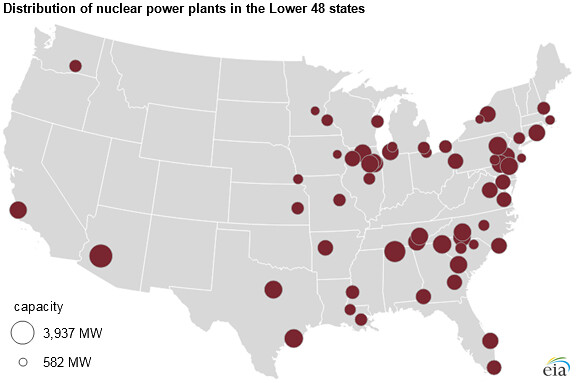 map of us showing distribution of nuclear power plants in lower 48 states as of