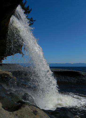 waterfall onto Sandcut Beach