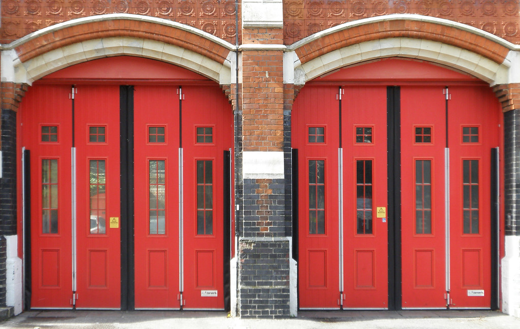Woolwich Fire Station Red Doors Ernest Victor Clarke