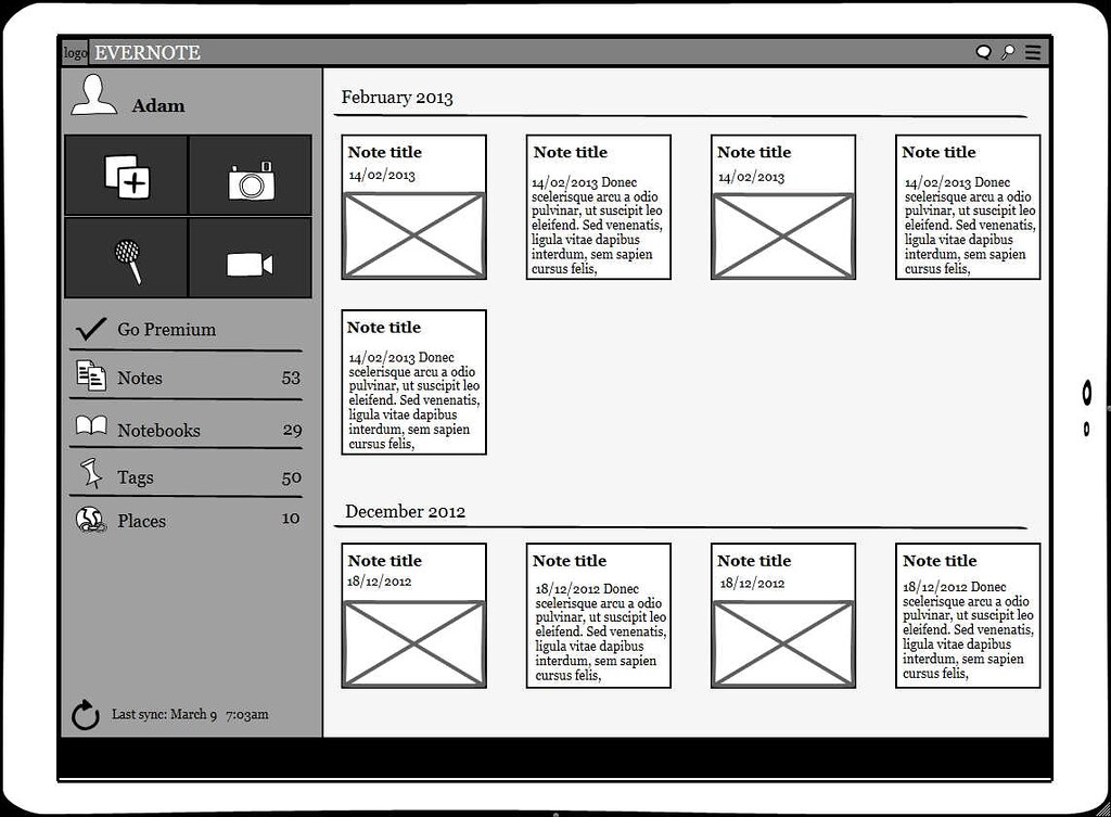 Android Tablet Evernote App Wireframe