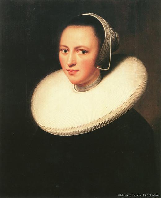 レンブラント・ファン・レイン《襞襟を着けた女性の肖像》(1644年、ヨハネ・パウロ2世美術館蔵)