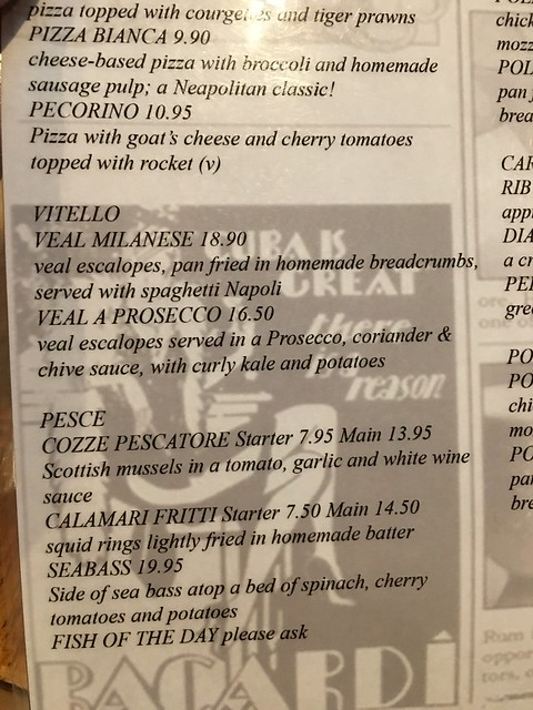 Edinburgh,  Frizzante menu