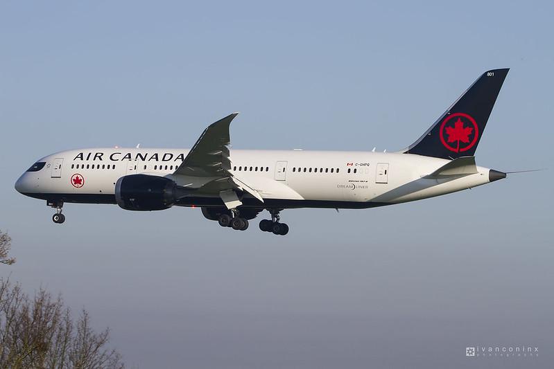 Boeing 787-8 Dreamliner – Air Canada – C-GHPQ – Brussels Airport (BRU EBBR) – 2017 04 04 – Landing RWY 25L – 04 – Copyright © 2017 Ivan Coninx