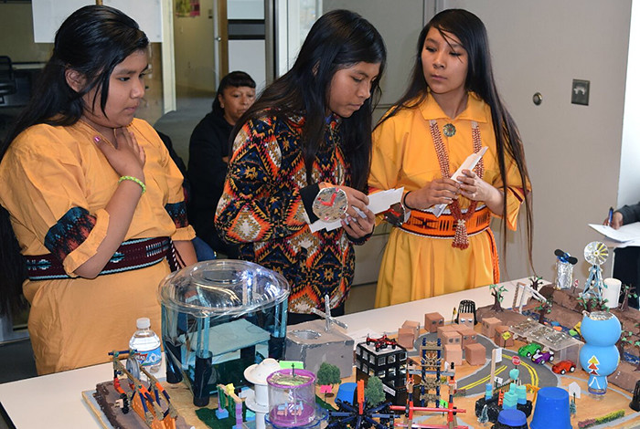 "Students from San Felipe Pueblo Elementary School designed a scale model virtual city for the Future City competition, which was themed ""the Power of Public Space."""