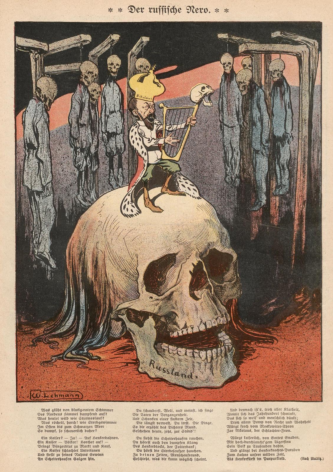 """Willy Lehmann-Schramm - Illustration of the text """"Der russische Nero"""" 1907"""