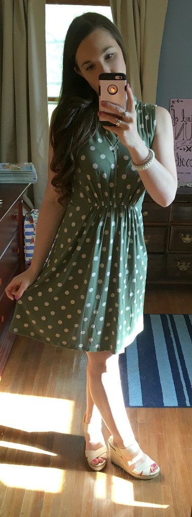 MJC Women's Green Polka Dot Dress