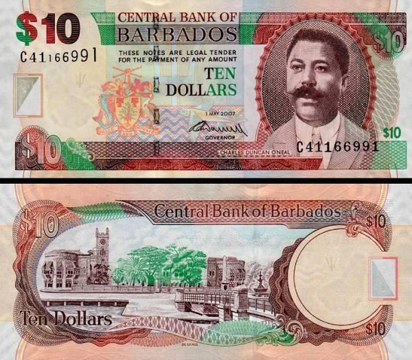 10 barbadoských dolárov Barbados 2009, P68b