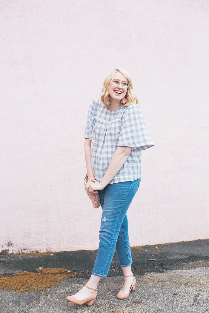 austin fashion blog gingham bell sleeves and blush5