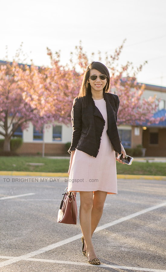 navy tweed open jacket, pink wool shift dress, burgundy tote with navy luggage tag, leopard flats