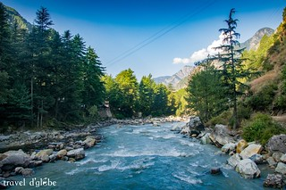 Scintillating view of Parvati valley from Parvati River