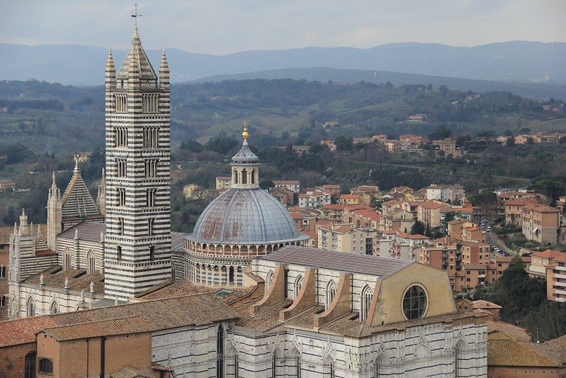 Siena's Duomo viewed from the Torre del Mangia