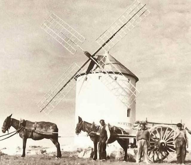Fotografía antigua de un molino de Herencia (Ciudad Real)