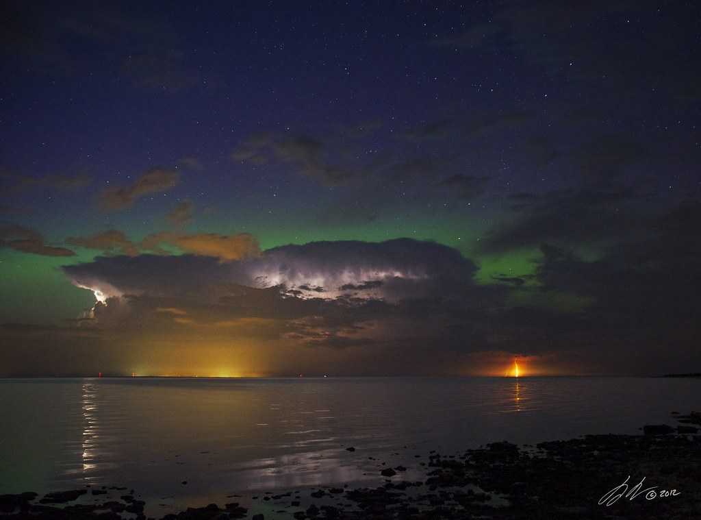 Two Storms | Lightening and aurora over Green Bay  | The