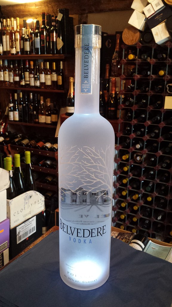6 litre belvedere vodka with light in base next to a stand flickr. Black Bedroom Furniture Sets. Home Design Ideas