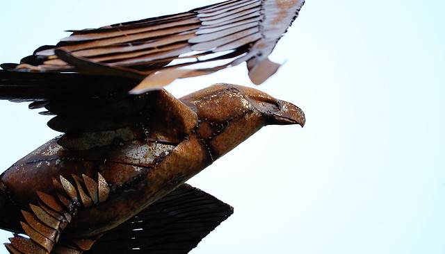Metal sculpture of an eagle
