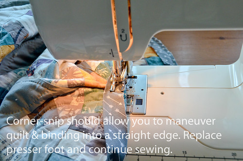 5. Corner-snip allows you to straighten the fabric and binding as shown. Place down presser foot and continue sewing to next inside corner.