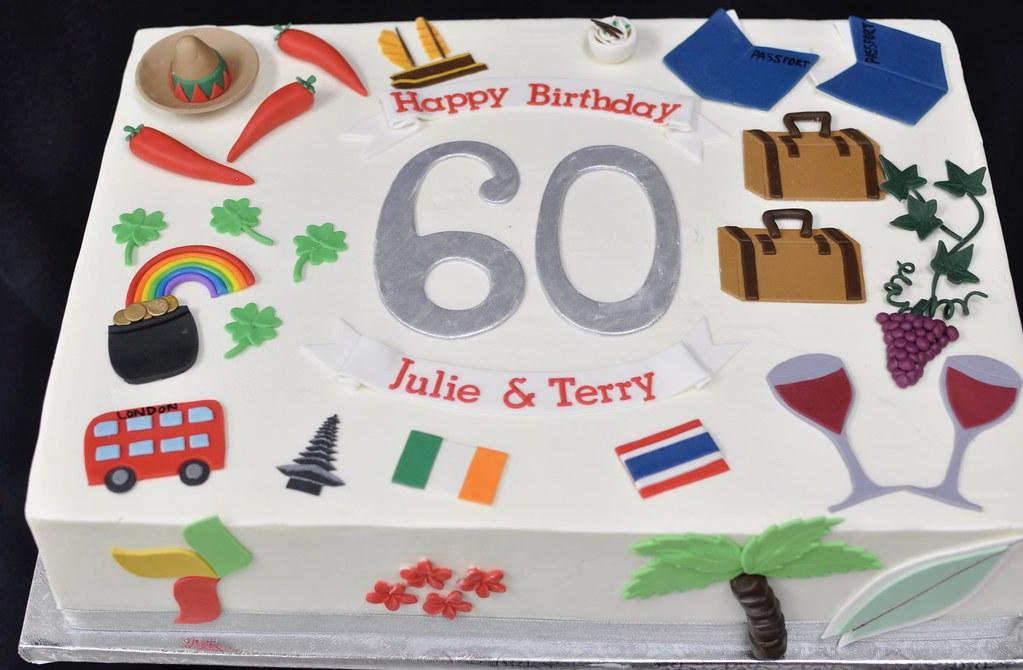 60th Birthday Sheet Cake Travel Theme Jenny Wenny Flickr