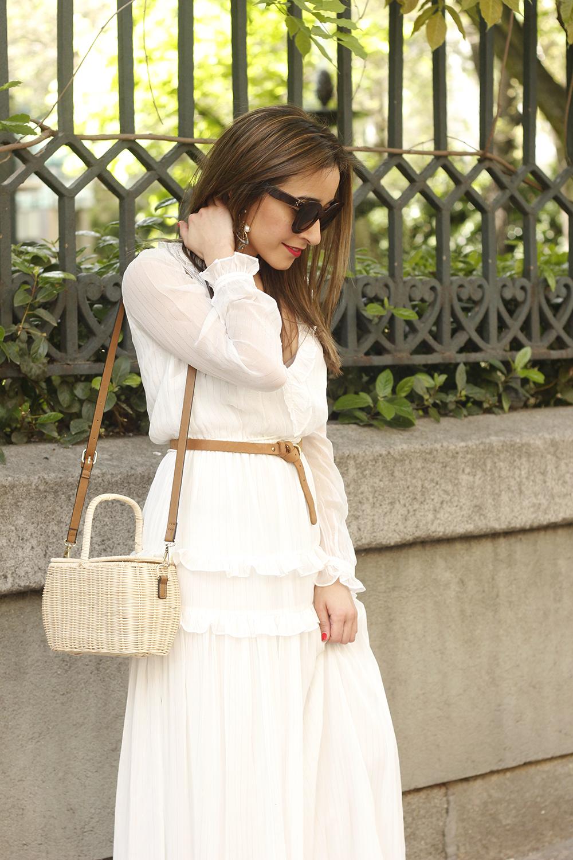 white maxi dress Subtle golden stripes wicker bag sandals céline sunnies spring outfit 10