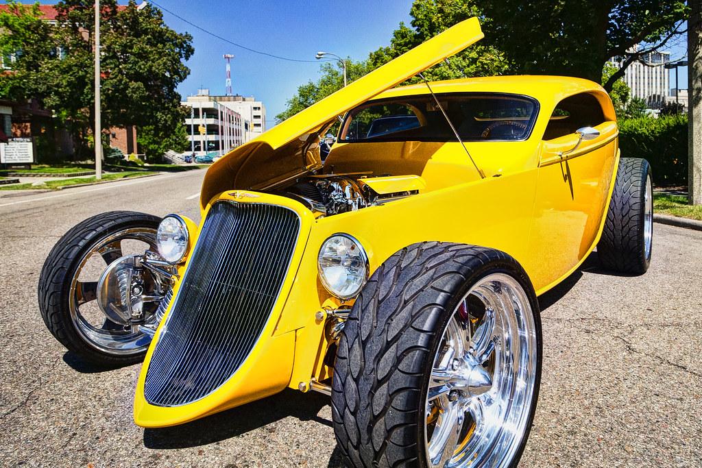 Yellow hot rod hdr 2013 back to the bricks car show flint