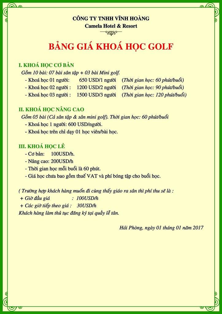 Bảng giá học Golf