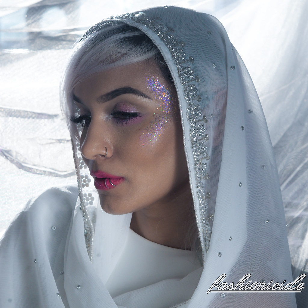 Brown Skin White Scarf Dupatta Glitter Makeup Highlight