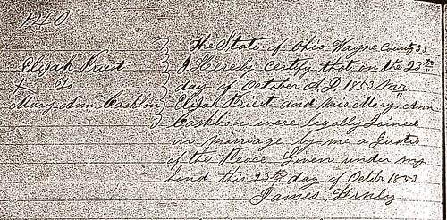 Elijah Priest Mary Ann Casbon M OH 1853