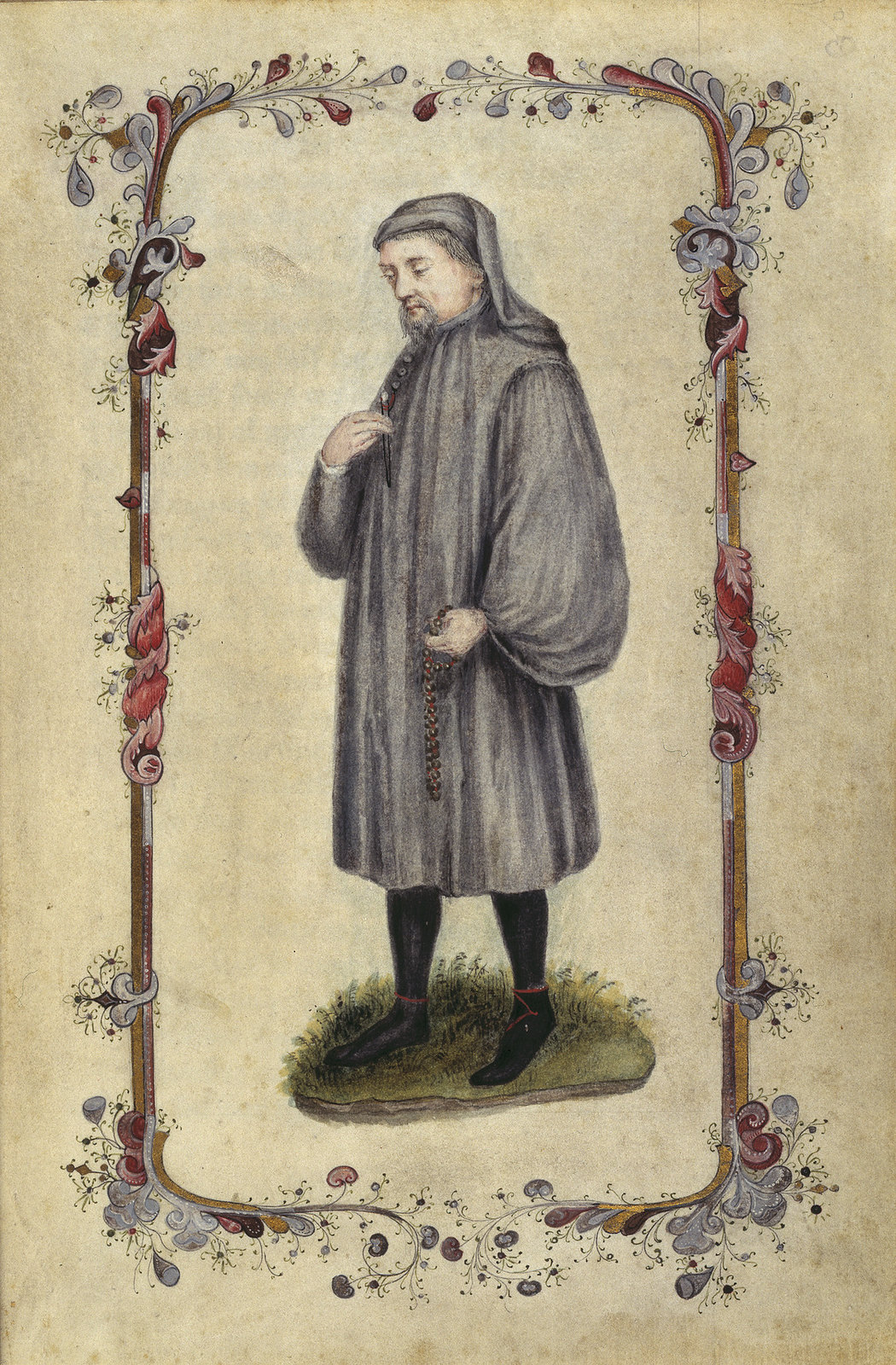 Begin. [fol. 2 recto:] wHan that Apprill with his - caption: 'Geoffrey Chaucer'