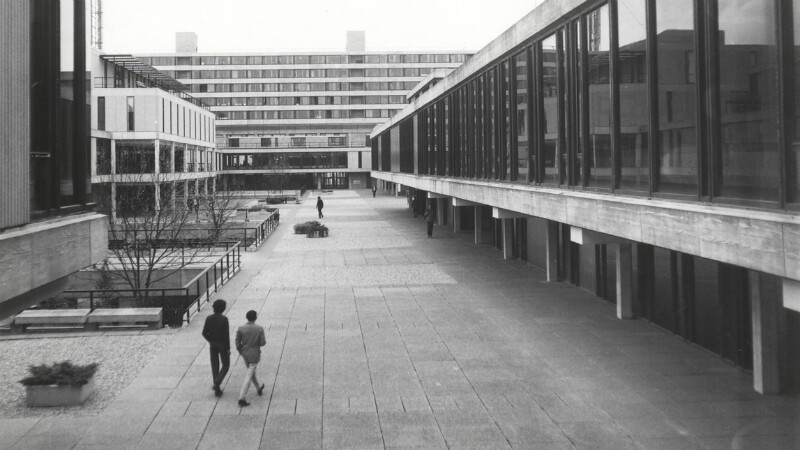 A black and white photo of the University of Bath campus in the 1970s