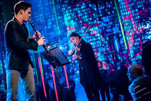 Andreas Ottensamer, Nemanja Radulovic und Ksenija Sidorova bei der Yellow Lounge in der Malzfabrik Berlin am 16.03.2017