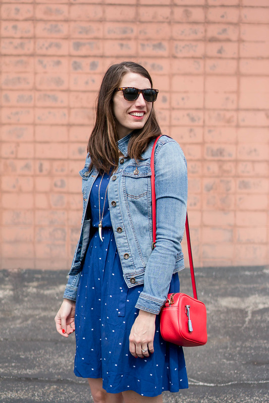 blue Old Navy patterned dress + J.Crew stripe flats + denim jacket + red crossbody purse; spring casual outfit | Style On Target blog