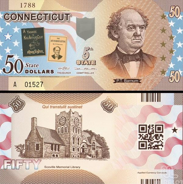 USA 50 Dollars 2014 5. štát - Connecticut, polymer