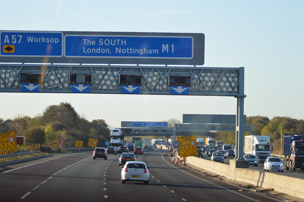 The South London Nottingham M1 Highway Road Sign In Engla
