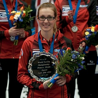 Saint John N.B.Mar23_2014.Ford World Woman's Curling Championship,Francis Brodie Award,Canada's Alison Kreviazuk.CCA/micahel burns photo | by seasonofchampions