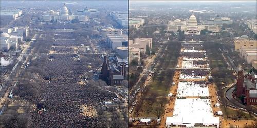 《紐約時報》所列的人數對照圖,左為2009年歐巴馬總統就職典禮照片,右為2017年,川普總統就職典禮照片。兩者均攝於就職演講前45分鐘。
