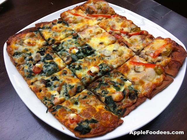 Brotzeit German Bier Bar & Restaurant - Mixed Pizza of Bavarian and Spinach Flade Pizza