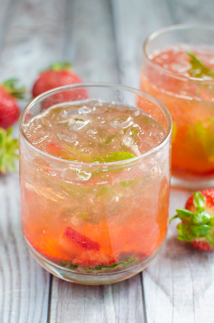 Strawberry Basil Bourbon Smash