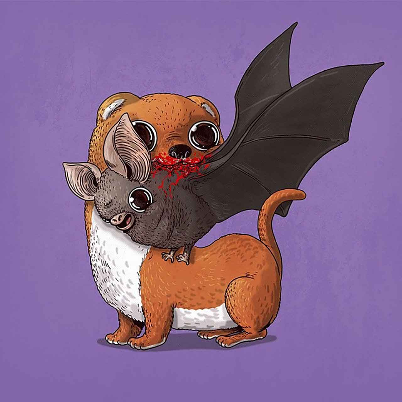 "Artist Creates Extremely Adorable ""Predator & Prey"" Illustrations #28: Weasel & Bat"