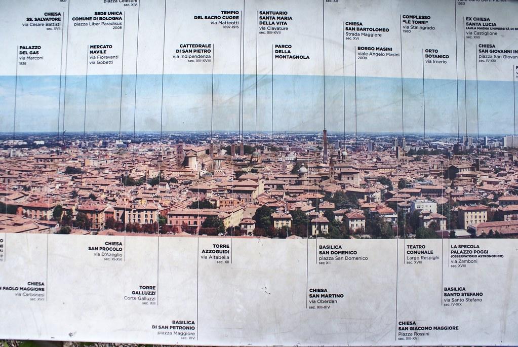 Point de vue sur Bologne depuis l'église de San Michele in Bosco.
