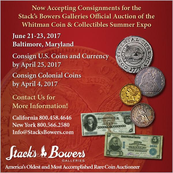 Stacks-Bowers E-Sylum ad 2017-04-02 consignments