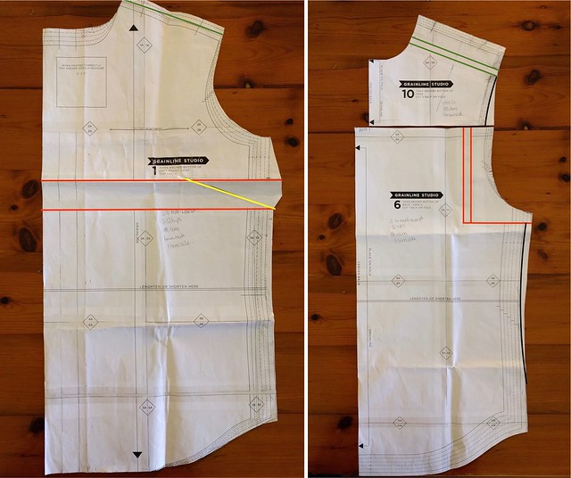 Shirt pattern pieces with fitting adjustments highlighted.