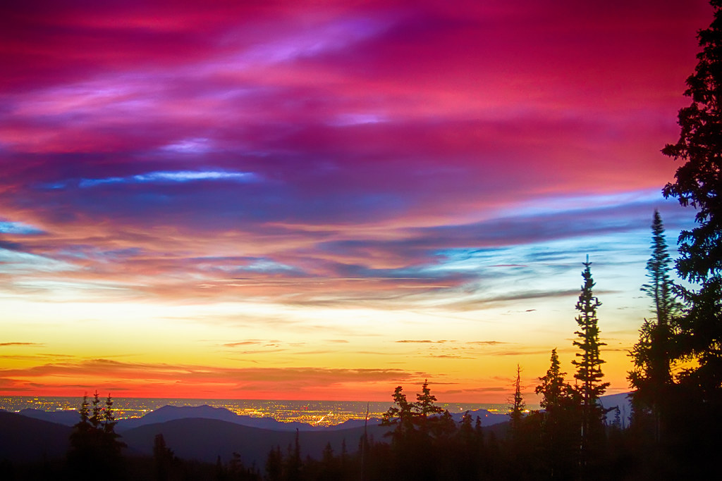 city lights sunrise view from rollins pass a beautiful